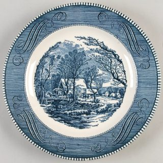 Currier & Ives China Dinnerware - Old Inn Winter Scene in Blue- includes plates, bowls, and cups.