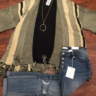 Black & Gold Cardigan Sweater