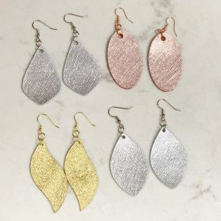 Genuine Leather Rose Gold, Silver, and Gold Drop Earrings