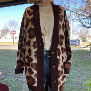 Large Leopard Print Sweater Cardigan