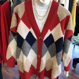 Diamond Color Block Cardigan