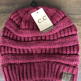 Burgundy CC Beanie Roots and Flowers Iowa