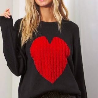 Black & Red Heart Sweater