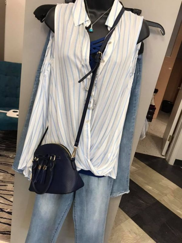Blue & White Striped Button down sleeveless top. Summer boutique wardrobe in Marion iowa!