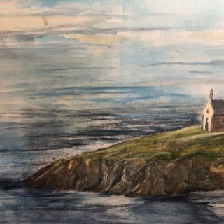 Church by the Sea Watercolor by Dave Stauffer